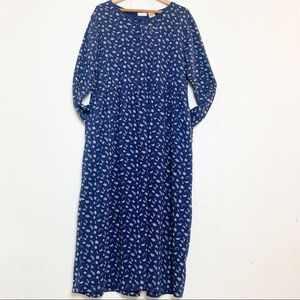 Bobbie Brooks Navy Leaf Print Henley Thermal Maxi